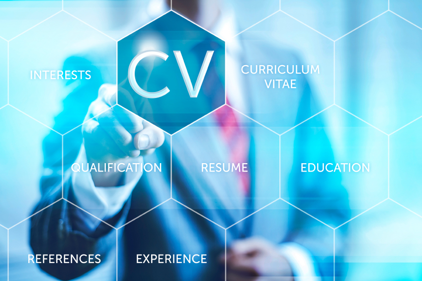 Curriculum vitae resume concept pointing finger