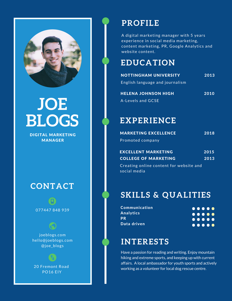 blue yellow retro simple infographic resume | simply marketing jobs